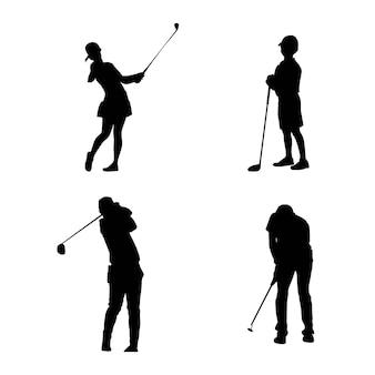 ゴルフ選手のベクトル図のシルエット