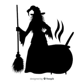 ハロウィーンの魔女のシルエット