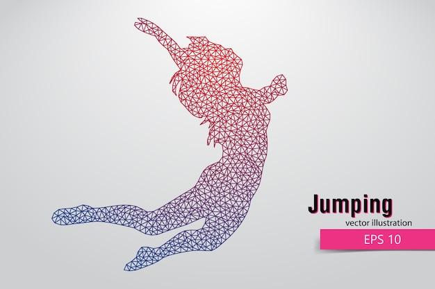 삼각형에서 점프 여자의 실루엣