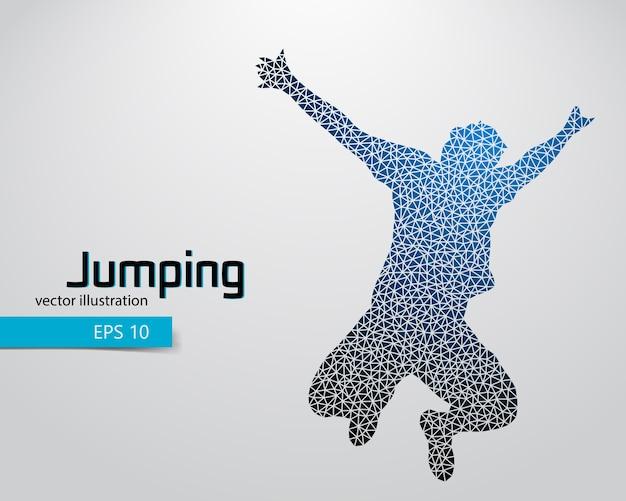 三角形からジャンプ男のシルエット