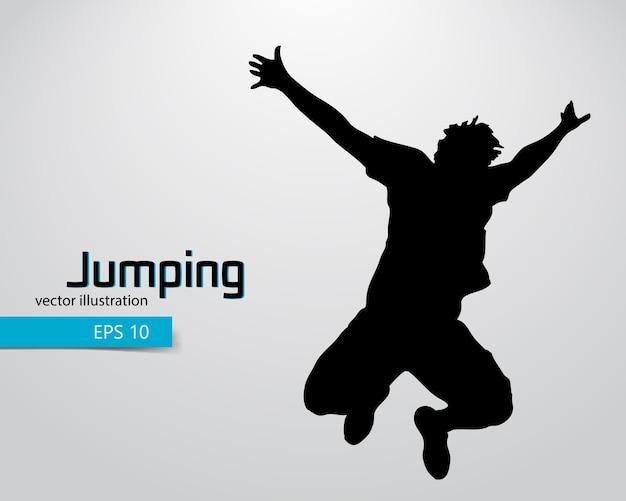 ジャンプ男イラストのシルエット