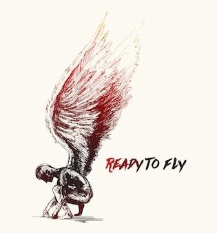 長い翼を持つ孤独な堕天使のシルエット