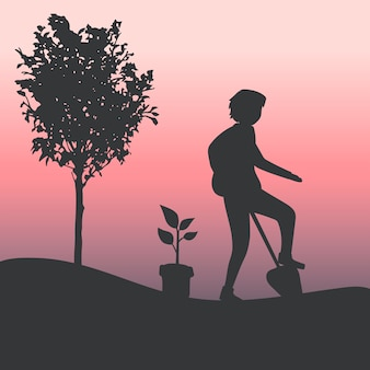 Silhouette of a man gardening vector