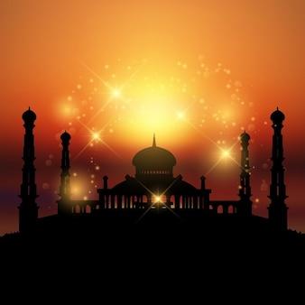라마단에 이상적 일몰 모스크의 실루엣