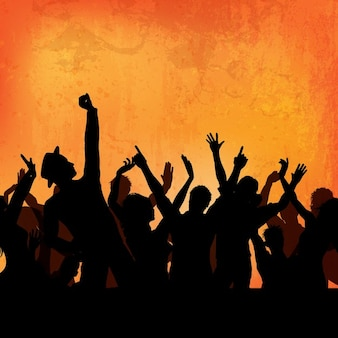 Silhouette of a party crowd on a grunge background