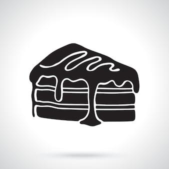 크림과 시럽 벡터 일러스트와 함께 케이크 한 조각의 실루엣