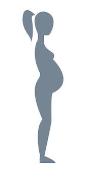 白い背景の上の完全な成長の妊娠中の灰色のシルエットベクトル図