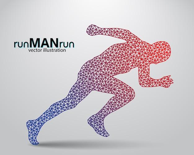 走っている男の人のシルエット