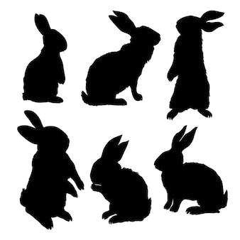 座っているウサギのシルエット