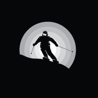 スノーボーダーのシルエット、白黒イラスト