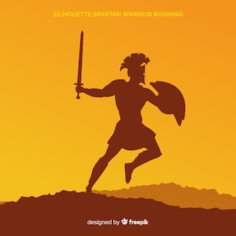 Silhouette of a spartan warrior training