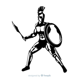 Silhouette of a spartan warrior
