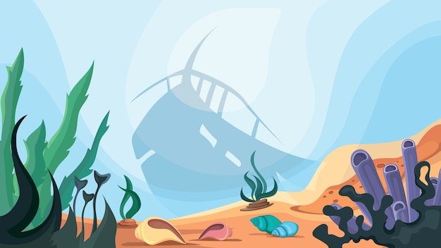 Силуэт затонувшего корабля на дне океана. красивый подводный мир.