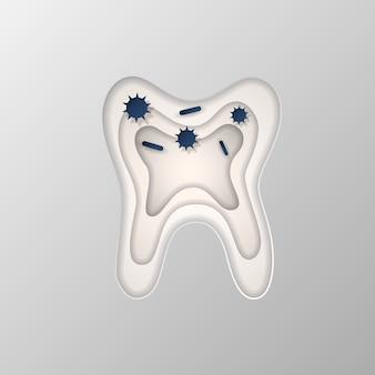 紙に刻まれた歯のシルエット。