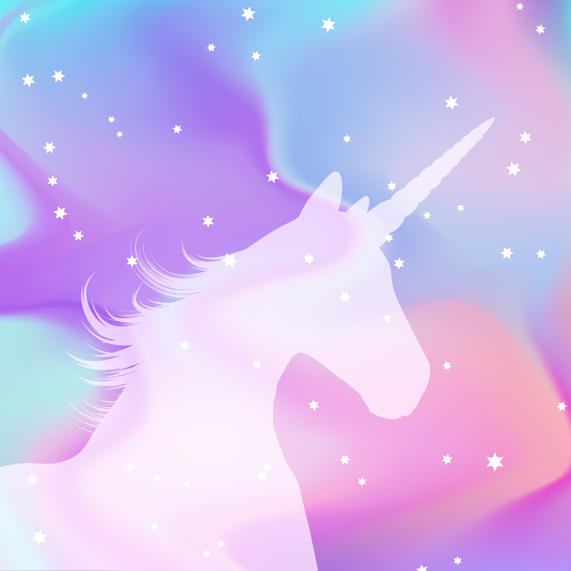 Silhouette of a unicorn on a holographic background
