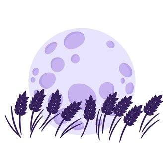 Силуэт пшеничного поля на фоне полной луны.
