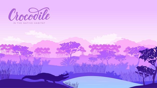 オーストラリアの背景の野生動物のシルエット。山の風景