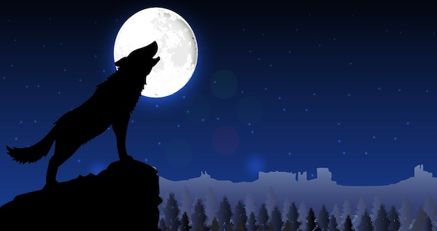 Силуэт волка, стоящего на холме