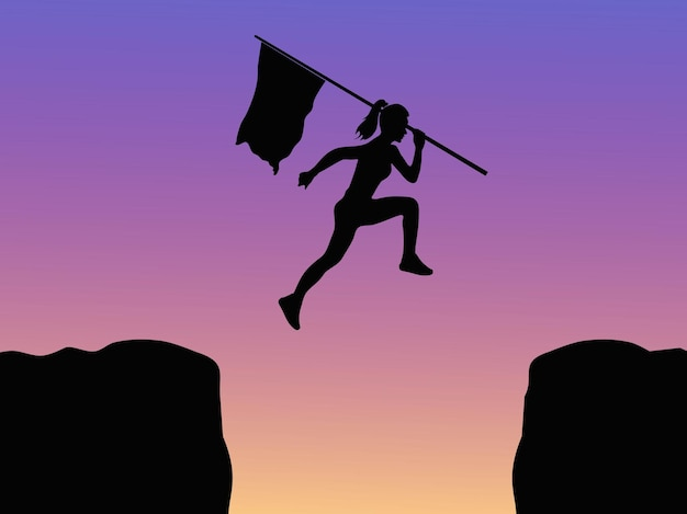 보라색 배경의 절벽 위로 점프하는 깃발을 들고 있는 여성의 실루엣
