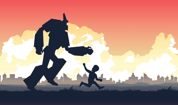 Силуэт деятельности в будущем люди и робот живут вместе