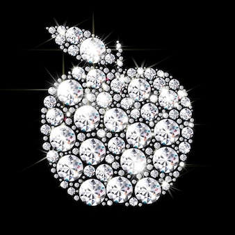 검은 배경에 밝은 다이아몬드와 수정이 늘어선 사과의 실루엣
