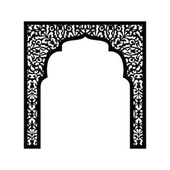 レーザー切断のための植物要素を持つイスラムのアーチのシルエット。結婚式やお祝いのイベント、訪問式のための装飾の生産。ベクトルイラスト。