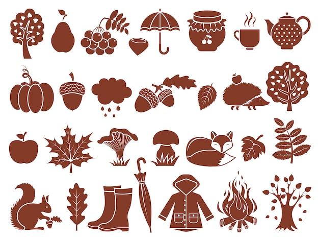 Силуэт осенних символов. монохромные иконки набор осени