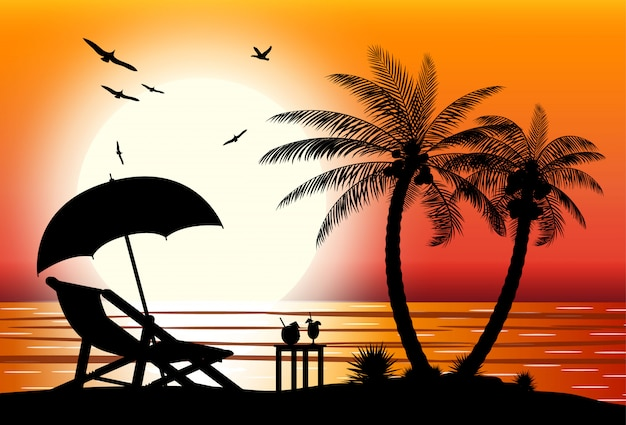 해변의 실루엣