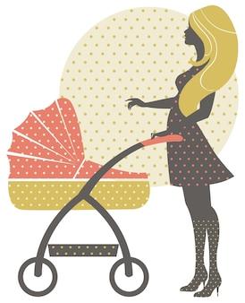 レトロなスタイルのベビーカーと美しい母親のシルエット