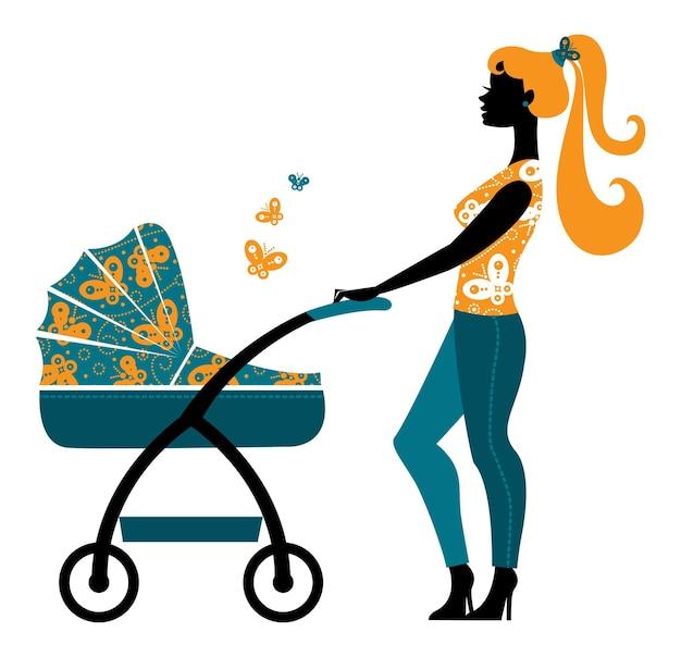 Силуэт красивой матери с детской коляской