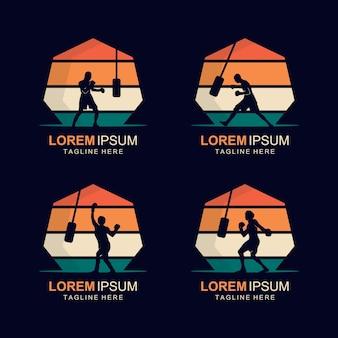 Силуэт вектора дизайна логотипа бокса