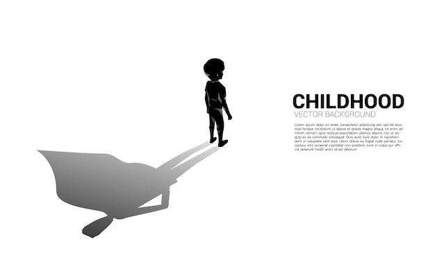 Силуэт мальчика и его тень иллюстрации концепции супергероя