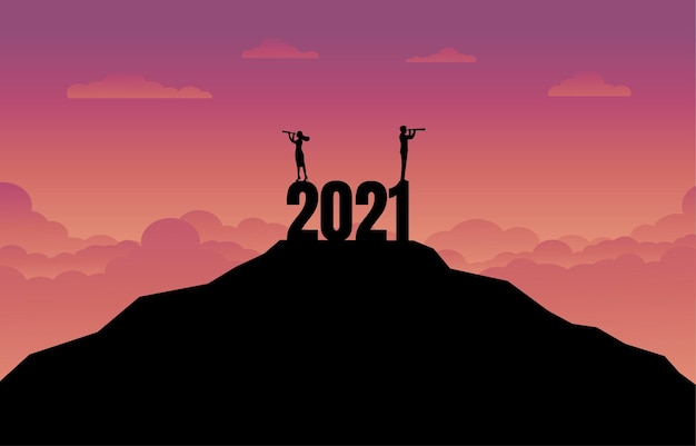 새 해 2021에서 비즈니스 성공 개념의 실루엣.