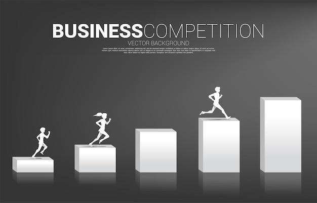 ビジネスマンと実業家のシルエットは、成長するグラフ上を実行します。キャリアとビジネスを始める準備ができている人々の概念