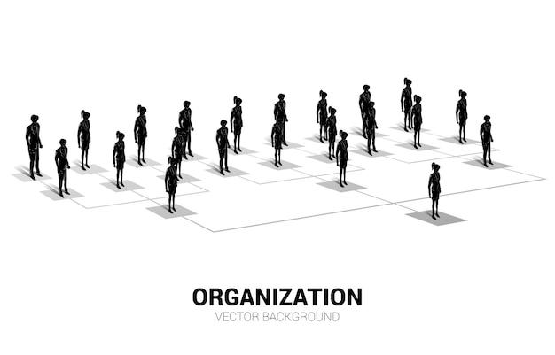 組織図の上に立つビジネスマンとビジネスウーマンのシルエット。企業構造とチーム階層のビジネス バナー