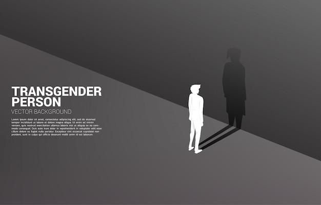 사업가의 실루엣과 트랜스 젠더 사람과 lbgt의 businesswoman.concept의 그의 그림자