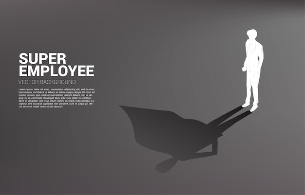 ビジネスマンのシルエットとスーパーヒーローの彼の影。可能性と人的資源管理に力を与える概念