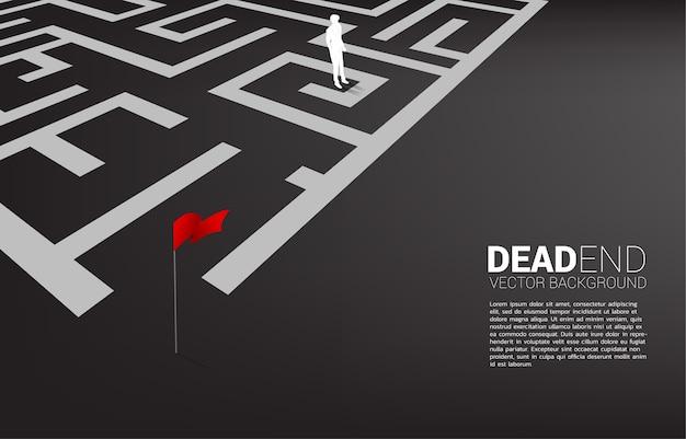 迷路の行き止まりのビジネスマンのシルエット。問題と間違った決定のためのビジネスコンセプト。