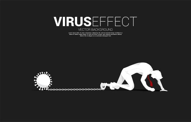 바이러스와 함께 다리에 사슬로 기어 다니는 사업가의 실루엣. 우울증과 장애물 사업에 대한 개념입니다.