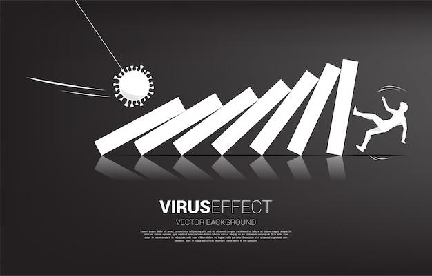 Силуэт бизнесмена падая вниз эффектом домино от вируса короны. концепция экономического кризиса от вирусной вспышки.