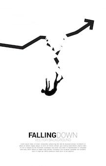 깨진 된 그래프에서 아래로 떨어지는 사업가의 실루엣입니다. 실패와 실수로 인한 비즈니스에 대한 개념