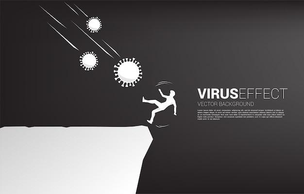 계곡에서 드롭 코로나 바이러스에서 떨어지는 사업가의 실루엣. 바이러스 발발로 인한 경제 위기에 대한 개념.