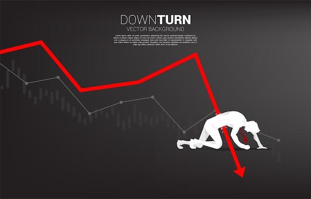 침체 그래프에서 떨어지는 사업가의 실루엣입니다. 실패 및 우발적 비즈니스에 대한 개념