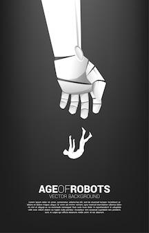 Силуэт бизнесмена, падающего с руки робота. концепция кризиса от срыва бизнеса