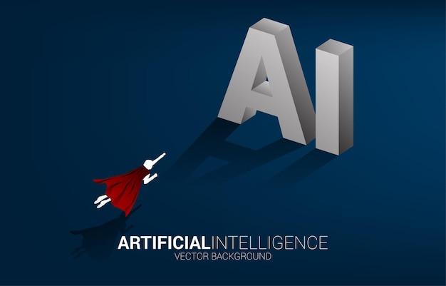 사업가의 실루엣은 ai 3d 텍스트로 직접 날아갑니다. 기계 학습 및 인공 지능을 위한 비즈니스 개념