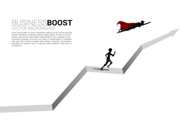 사업가의 실루엣은 그래프에서 다른 머리 위로 날아갑니다. 비즈니스의 부스트와 성장의 개념입니다.