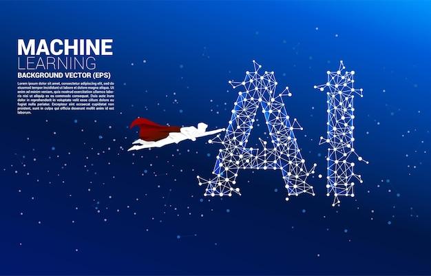Силуэт бизнесмена летать с машинным обучением точка соединяет линию фона. бизнес-концепция для машинного обучения и искусственного интеллекта