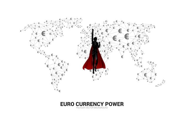 사업가의 실루엣은 화폐 유로화 아이콘 다각형 점이 연결된 선으로 world globe와 함께 비행합니다. 세계에서 유로화의 힘에 대한 개념.