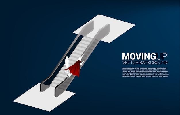 비행하는 사업가의 실루엣은 에스컬레이터에서 남자와 경쟁합니다. 비즈니스 위험 및 경력 경로에 대한 개념