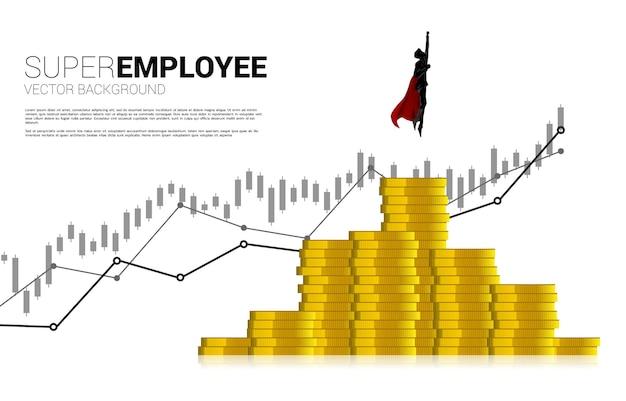 동전 더미의 더 높은 열에서 날아가는 사업가의 실루엣. 비즈니스의 부스트와 성장의 개념입니다.